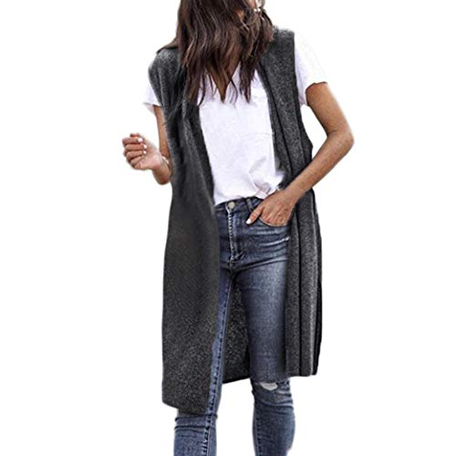 Best Price Women Open Front Cardigan Sleeveless Knit Casual Draped Lightweight Long Vests Solid Slee...