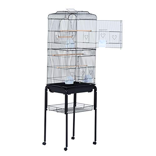 PawHut 63' Rolling Bird Cage Cockatoo House Play Top Finch Pet Supply with Wheels Black