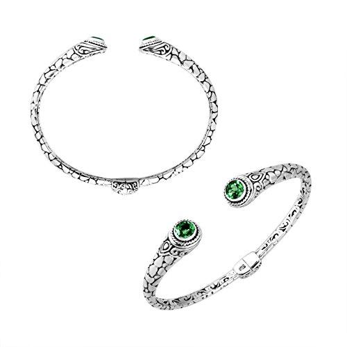 Pulsera de plata de ley con cuarzo verde AB-9032-GQ