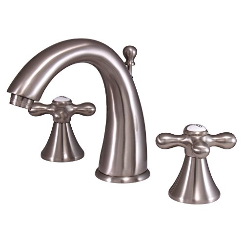 """Elements of Design ES2978AX St. Regis 2-Handle 8"""" to 16"""" Widespread Lavatory Faucet with Brass Pop-Up, 5-1/2"""", Brushed Nickel"""
