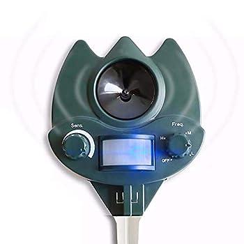 ZXCV Répulsif Animal Multifonctionnel ultrasonique, détecteurs répulsifs PIR de répulsif d'oiseau de Chat de Chien, Clignotant d'alarme d'ultrason,Vert