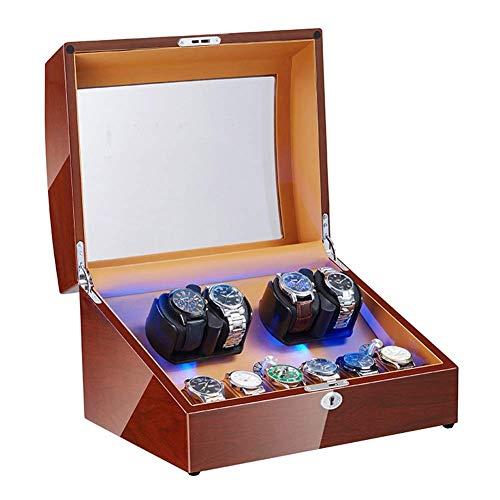 XIUWOUG Cargador automático de relojes con motor supersilencioso, luz de fondo LED, fuente de alimentación y batería, funciona con piano, pintura exterior suave (tamaño: 4 + 6)