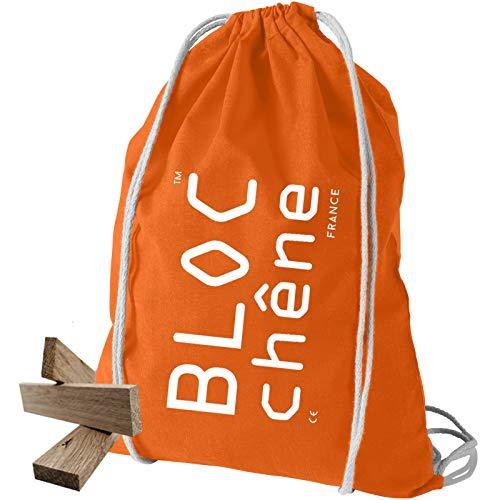 BLOC chêne - Sac Orange - Jeu de Construction de 200 planchettes pour Les Amoureux du Bois