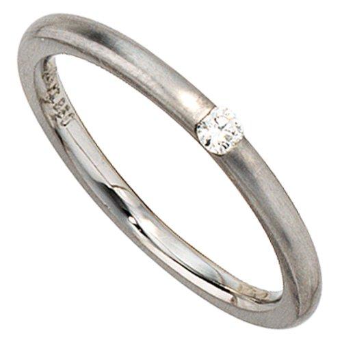 JOBO Damen-Ring 950 Platin mattiert 1 Diamant-Brillant 0,06ct. Größe 54