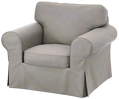 Custom Slipcover Replacement Der Dense Cotton Ektorp Stuhl-Abdeckung Ersatz ist nach Maß für IKEA Ektorp Sessel Cover, EIN EIN Sitz Sofa Slipcover Ersatz Heavy Cotton Grau