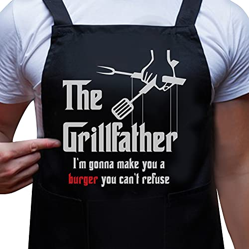 Funny Apron for Men – The Grill Father BBQ Apron – Dad Gift, Grandpa, Husband Gift -Cooking Apron with eBook - 100% Cotton –3 Large Pockets