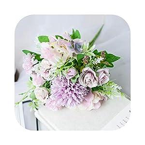 Silk Flower Arrangements #N/D Artificial Flowers Rose Silk Bouquet for Decoration Camellia Artificial Peony Rose Wedding Home DIY Decor Fake Flower Pink-color3
