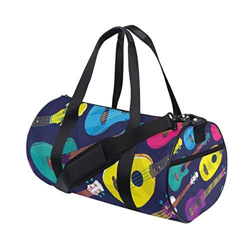 Bolsa de deporte de gimnasio Pop colorido hawaiano ukelele bolsa de viaje para hombres y mujeres