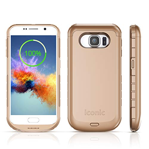 """S6 Battery Case, ICONIC 4200mAh S6 Charger Case Portable External Charging Battery Pack for Samsung Galaxy S6 (5.1"""" Gold)"""