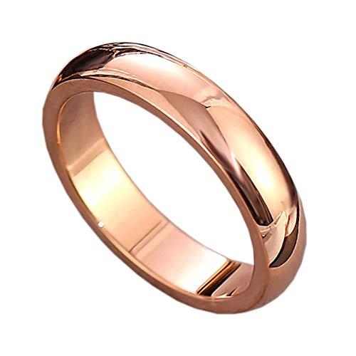 QSCVDEA Anillo, Simple de Titanio de Acero de 4 mm Smooth Anillo Llano, Anillo de los Pares, Anillo de Moda Índice de Dedo del Acero Inoxidable de la Personalidad (Color : Rose Gold, Size : 6#)