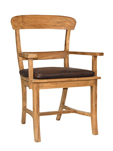 Armleuningstoel Tanja met houten zitvlak teakhout geborsteld onbehandeld kussen met zitkussen bruin