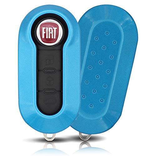 ASARAH ABS Schlüsselhülle für FIAT mit edler Lackierung, Schutzhülle für Autoschlüssel Cover für Schlüssel-Typ FT 3BKB - Blau