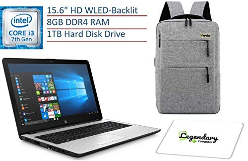 2019 HP 15.6 pulgadas HD Premium Business Laptop PC, Intel Dual-core i3-7100U, 8GB DDR4 RAM, 1TB HDD, USB 3.1, HDMI, WiFi, Bluetooth, Windows 10, W/Legendary computadora Mochila y Mouse Pad Bundle
