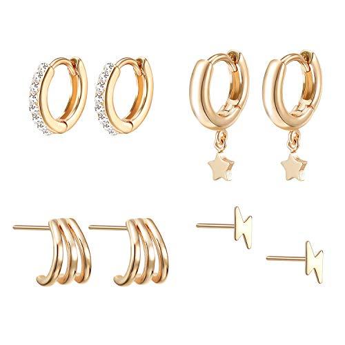 Tiny Huggie Hoop Earrings Set for Women Girls - 14k Gold Plated Hypoallergenic Stud Earrings