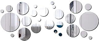 Tingz 32 Piezas Redondo de Espejo Hojas Círculo Anillo de Espejo Hojas Auto-Adhesivo Círculo Redondo Espejos para la Decor...
