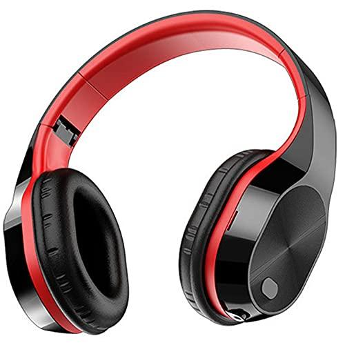 ML S HJDY Auricular Bluetooth Over Ear,Audífonos inalámbricos con Tres Modos y Sonido Envolvente 9D Adecuado para Trabajar,Black Red