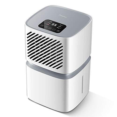 Luftentfeuchter, iTvanila 12L pro Tag Raumentfeuchter für den Heimgebrauch mit WLAN-Steuerung, LED-Anzeige mit Abschaltautomatik, Wäschetrocknung, kontinuierlicher Abfluss mit Schlauch, Weiß