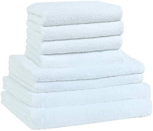 NatureMark - Set di 8 Asciugamani in Spugna, 100% Cotone, Bianco