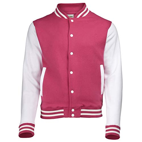 AWDis Varsity Jacket - Amerikanisch inspirierter College-Baseball - Rosa/Weiß (XL)