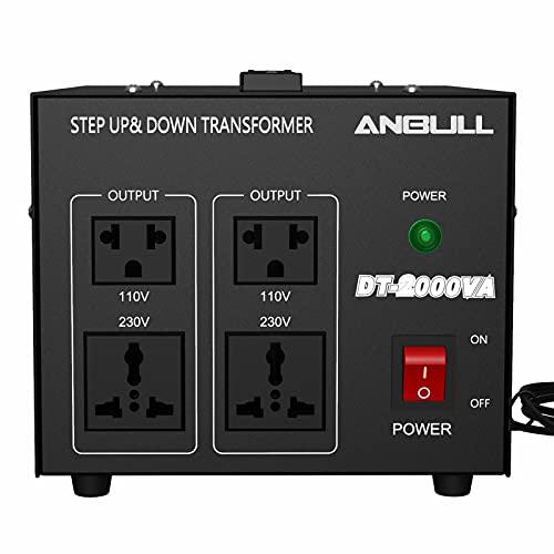 Anbull Voltage Converter 2000 Watt Voltage Transformer, 220V / 230V / 240 Volt to 110V / 120 Volt or 110V / 120 Volt to 220V / 230V / 240 Volt, Heavy Duty Step Up & Down Transformer Converter