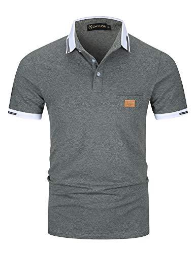 GHYUGR Poloshirts Herren Basic Kurzarm Baumwolle Polohemd Golf T-Shirt S-XXL,Grau,L