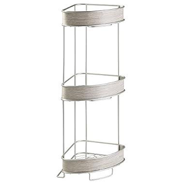 InterDesign RealWood Free Standing 3-Tier Corner Shelf for Bathroom - Satin/Gray Wood Finish