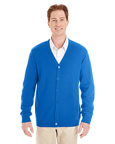 Harriton Mens Pilbloc V-Neck Button Cardigan Sweater (M425) -TRUE ROYAL -L