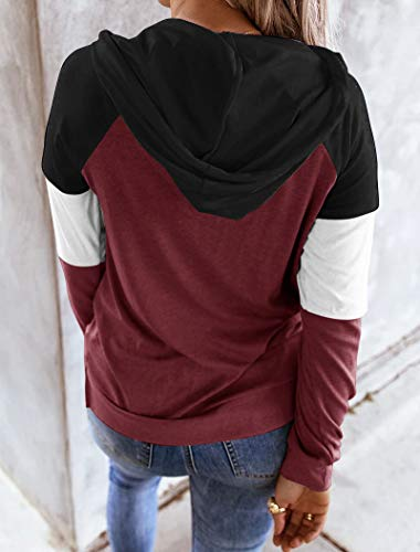 Hilltichu Womens Color Block Hoodies Casual Long Sleeve Pullover Tops with Pockets