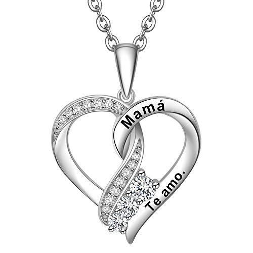 ENGSWA Collar Mujer Plata de Ley 925 Colgante Nudo de Corazón Grabado Regalo para Madre Mamá Hija Niña Esposa Novia