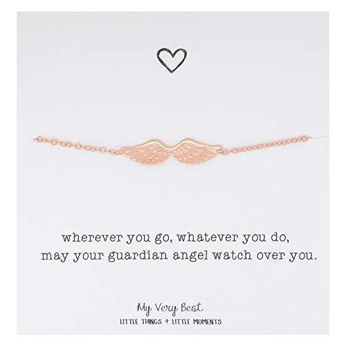 My Very Best Dainty Angel Wing Bracelet (Rose Gold Plated Brass)