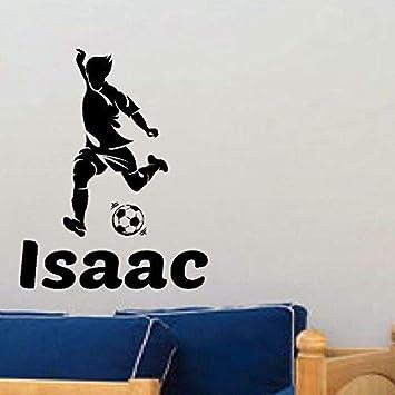 Nombre jugador de fútbol etiqueta de la pared calcomanías deportivas habitación para niños decoración del hogar póster jugador de fútbol de vinilo calcomanías personalizadas para autos87X111cm