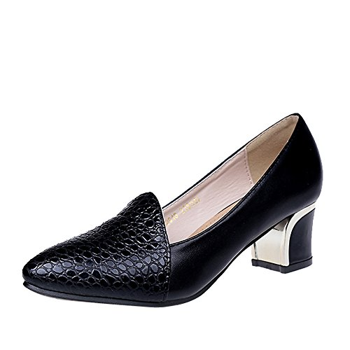DAIFINEY Damen Block Heel Krokodil Textur Business Schuh Arbeits Bequem Uniform Formal Büro Abendschuhe Leicht Berufsschuhe(Schwarz/Black,39)