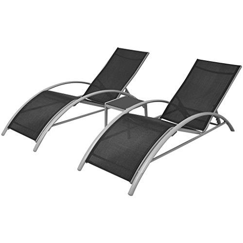vidaXL Ensemble de Chaises Longues et Table Aluminium Noir Bain de Soleil