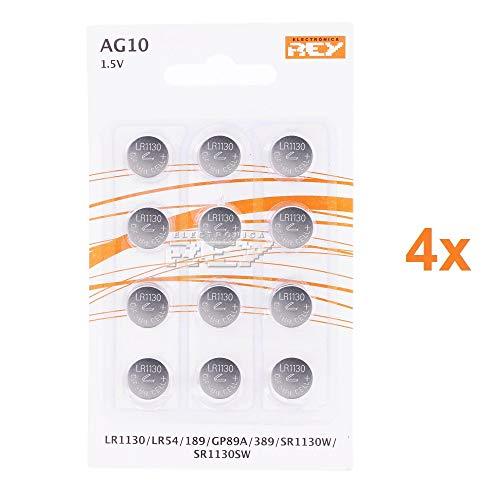 Pack de 48 Pilas AG10 1.5V Tipo Botón de Litio, LR1130, LR54, L1131, 189, GP89A, 389, SR1130W, SR1130SW