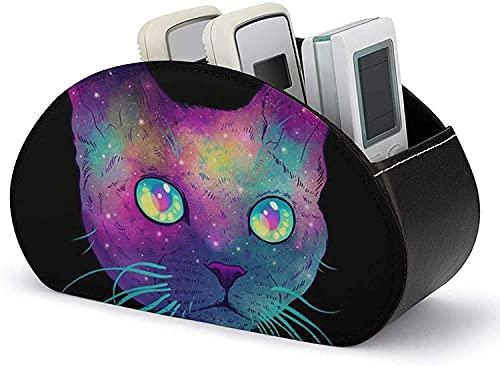 Mando a distancia de piel sint茅tica - Soporte para mando a distancia Funda de piel sint茅tica para gato Galaxy Mesa de escritorio Organizador de almacenamiento con 5 compartimentos espaciosos Sopor