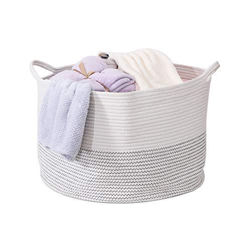 YCOCO Cesta de cuerda de algodón con asas, cesta de ropa para niños, cesta decorativa para sala de estar, cesta de almacenamiento de juguetes para bebés, 55 x 35 cm, color blanco
