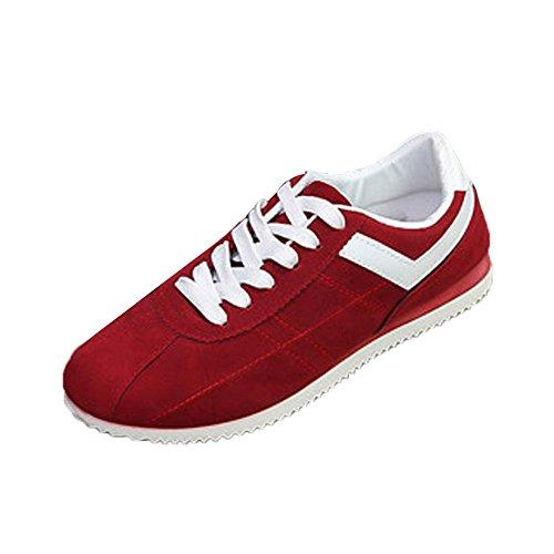 Chenang Sneaker Herren Casual Low-Top Schnüren Outdoor Mesh Bequeme Atmungsaktive Sneakers Flache Schuhe Freizeitschuhe Bootsschuhe Leichte Schuhe (43 EU, Rot)