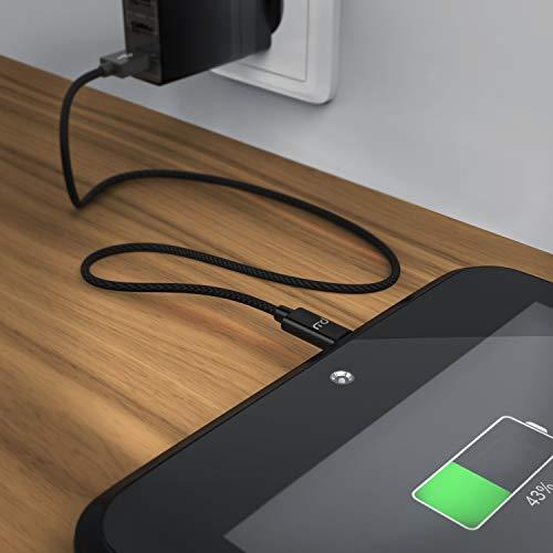 CSL - 1,0m Micro USB Kabel - 2,4A Schnellladekabel - Nylonkabel Metallstecker - High Speed Kabel - Datenkabel für Android Smartphones Samsung Galaxy HTC Huawei Sony Nexus Kindle