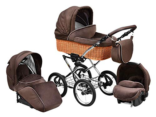 SKYLINE Klassisch Retro Stil Wicker LUX Kombi-Kinderwagen Buggy 3in1 Reise System Autositz (Isofix) (Chocolate Brown/14