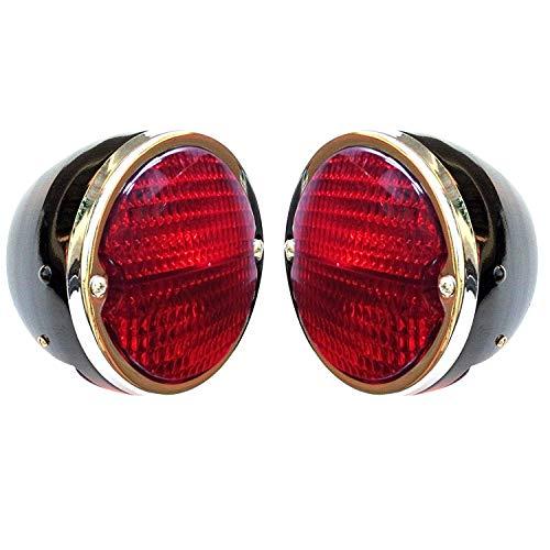 Bajato Rücklicht-Set, schwarzes Gehäuse, Chrom-Ringlinse, rot, für MF Traktor