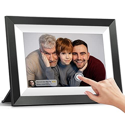 Digitaler Bilderrahmen 25,65 cm(10,1 Zoll), MARVUE WiFi Elektronischer Bilderrahmen, IPS Touchscreen, 1080HD, 16GB Speicher, Wandmontierbarer, Automatisch Drehen, Schwarzweiß
