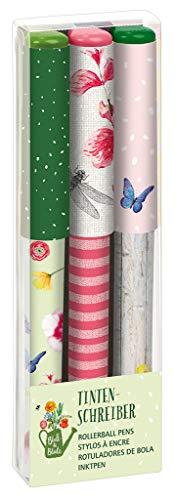 Tintenschreiber 3er Set Blatt & Blüte | Kugelschreiber mit auswechselbarer Mine im Set