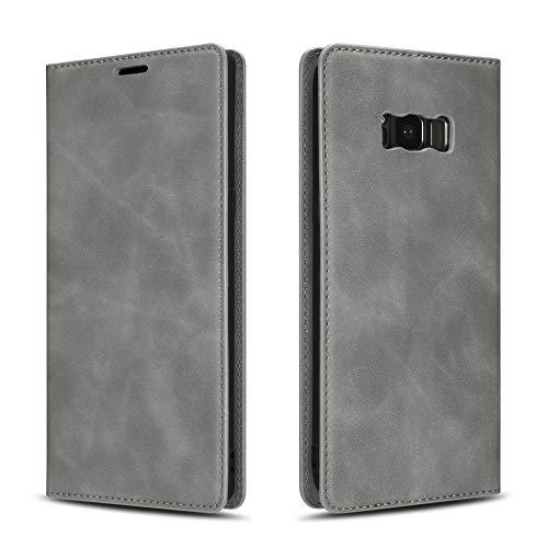 EYZUTAK Funda para Samsung Galaxy S9, cierre magnético, piel sintética, con tarjetero, función atril, antigolpes, estilo retro, color gris