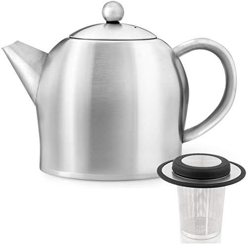 Bredemeijer Edelstahl Teekanne Set matt 0,5 Liter mit Teefilter Sieb