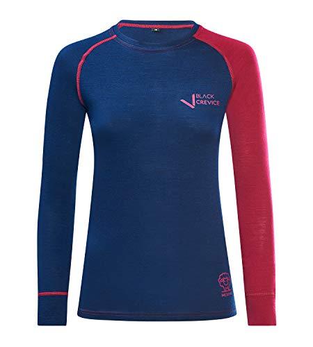Black Crevice Damen Langarmshirt aus Merino Wolle in 38 - Steel Blue/Blood red I Funktionsshirt atmungsaktiv I Funktionsunterwäsche I Base Layer I Long Sleeve I Skiunterwäsche