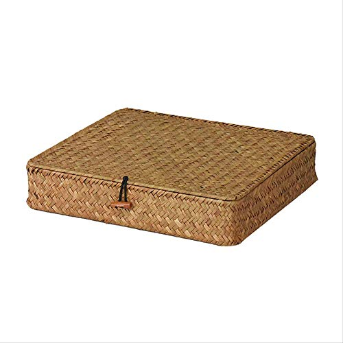 NoNo Seagrass Mit Abdeckung Gewebt Korb Flache Box Rattan Zu Sammeln Korb Sammlung Box Finishing Box Vintage Tee-Box Geschenk-Box Beige S-27.5 X 23.5 X 6 cm