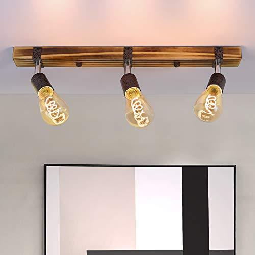 GBLY Vintage Deckenleuchte Holz Deckenspots Retro Deckenstrahler 55CM mit verstellbaren Strahlern - 3xE27 - max.25 Watt - für Flur Küche Esszimmer Wohnzimmer Bar - Ohne Leuchtmittel