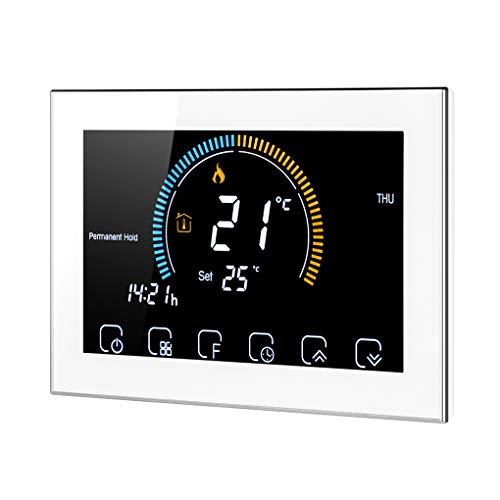 Mingtongli Termostato Programable de LCD retroiluminado con Tacto Sn regulación de la Caldera, Blanca