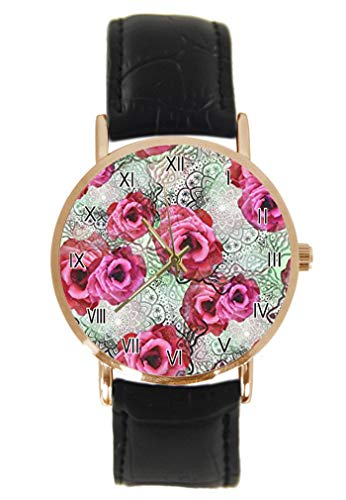 Grunge Mandala Lotus Floral Circles Montre-Bracelet Mode Classique Unisexe Analogique Quartz Boîtier Acier Inoxydable Bracelet Cuir Montres