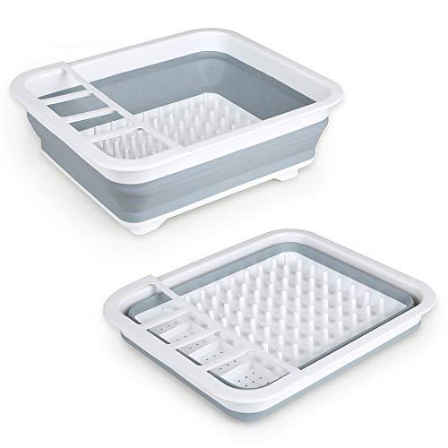 Edaygo Faltbares Abtropfgestell Abtropfständer, Platzsparend für kleine Küchen & Camping, für Geschirr & Besteck, 36,5 x 31 x 13 cm, Volumen 9 l, Leicht (520 g), Grau-Weiß